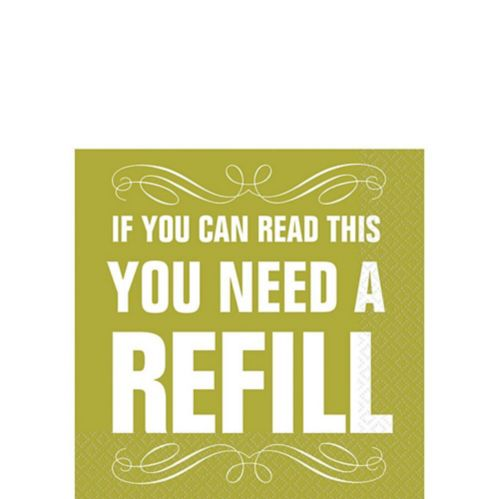 Green You Need a Refill Beverage Napkins, 16-pk