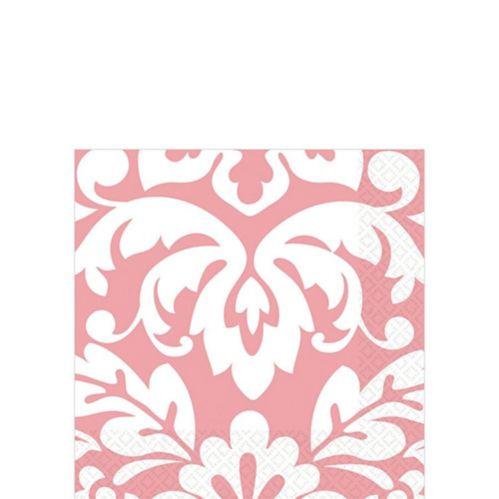 Serviettes à boissons en damas rose, paq. 16