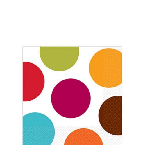 Serviettes à boissons à pois multicolores, paq. 16 Image de l'article