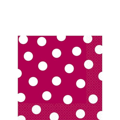 Raspberry Polka Dot Beverage Napkins, 16-pk