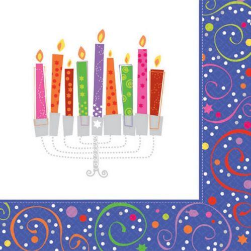 Playful Menorah Hanukkah Beverage Napkins, 16-pk