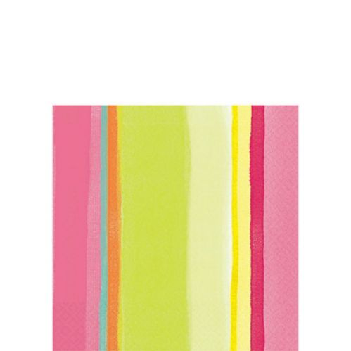 Striped Beverage Napkins, Pink, 16-pk