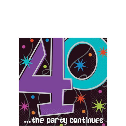The Party Continues 40th Birthday Beverage Napkins, 16-pk