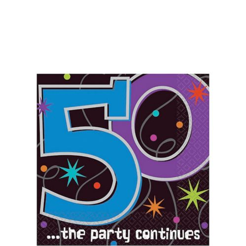 The Party Continues 50th Birthday Beverage Napkins, 16-pk