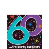 The Party Continues 60th Birthday Beverage Napkins, 60-pk