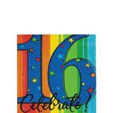 Serviettes pour boissons Célébration16eanniversaire, paq. 16