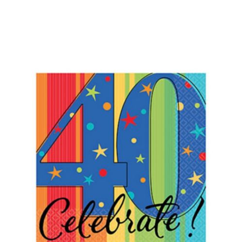 Celebrate 40th Birthday Napkin, 16-pk