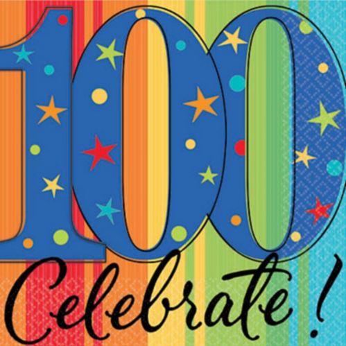 100th Birthday Celebration Beverage Napkins
