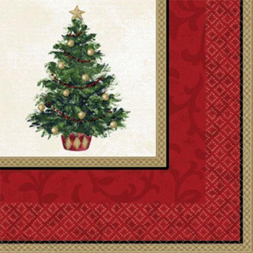 Serviettes à boissons Sapin de Noël Classique, paquet de 16
