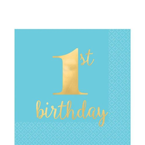 Metallic Blue & Gold 1st Birthday Premium Lunch Napkins, 16-pk
