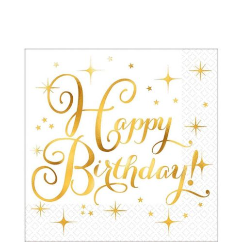 Metallic Gold Birthday Lunch Napkins, 16-pk