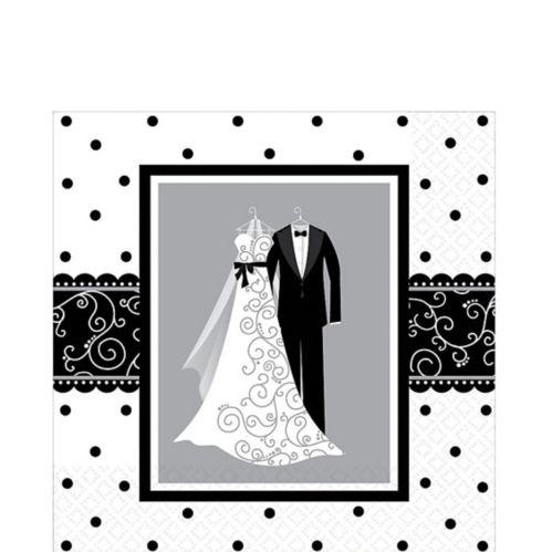 Serviettes de table de mariage, noir/blanc, paq. 16