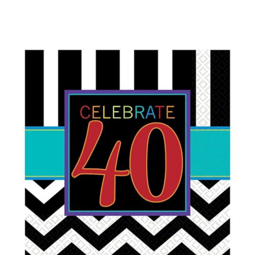 40th Birthday Napkins, 16-pk