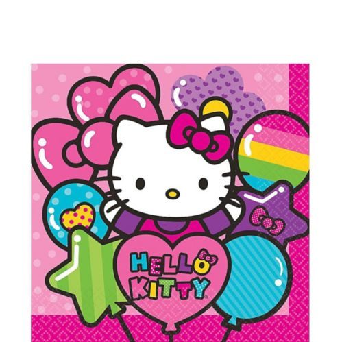 Serviettes de table Hello Kitty arc-en-ciel, paq. 16