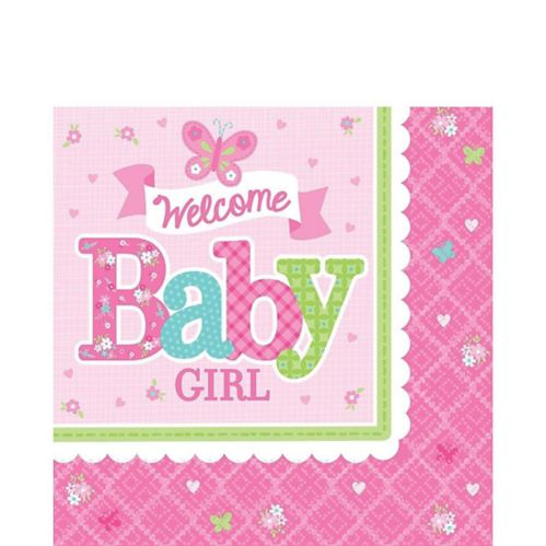 Welcome Baby Girl Baby Shower Lunch Napkins, 16-pk