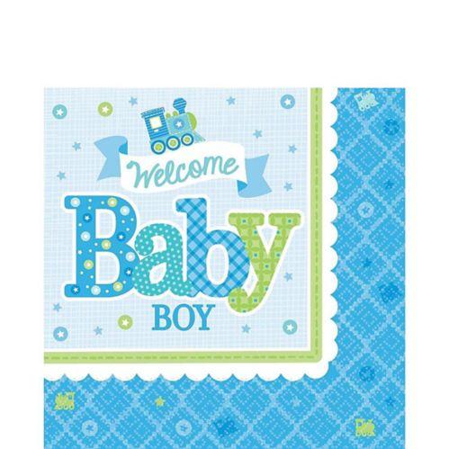 Serviettes de table pour fête prénatale Welcome Baby Boy, paq. 16 Image de l'article