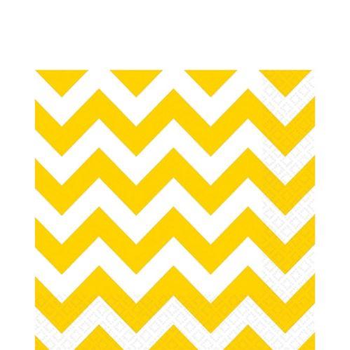 Serviettes de table festives jaunes à chevrons, paq.16 Image de l'article