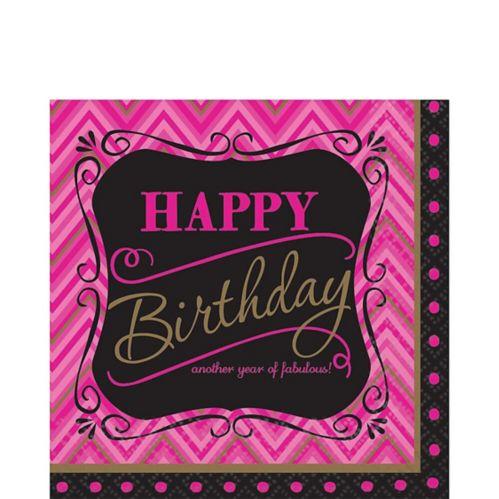 Serviettes de table Born To Be Fabulous pour anniversaire, avec chevrons, paq. 16
