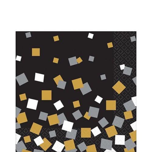 Serviettes de table carrées noires, dorées et argentées, paq./16