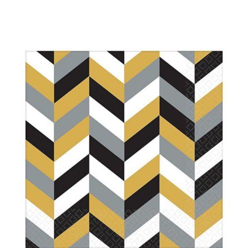 Serviettes de table à chevrons, noir/doré/argenté, paq. 16