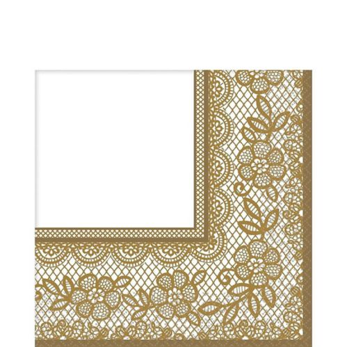 Delicate Gold Lace Lunch Napkins, 16-pk