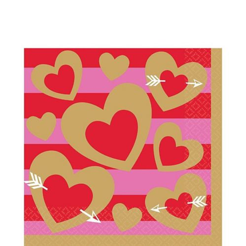 Heart of Gold Valentine's Day Lunch Napkins, 16-pk