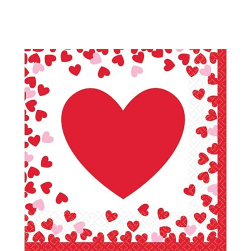 Confetti Hearts Valentine's Day Lunch Napkins, 16-pk