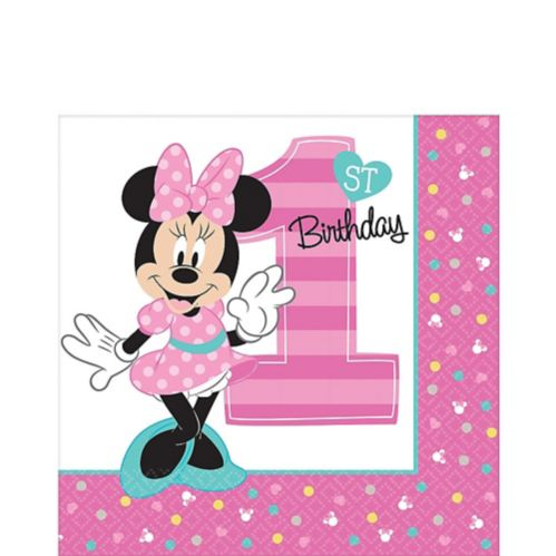 Serviettes de table 1er anniversaire Minnie Mouse, paq. 16