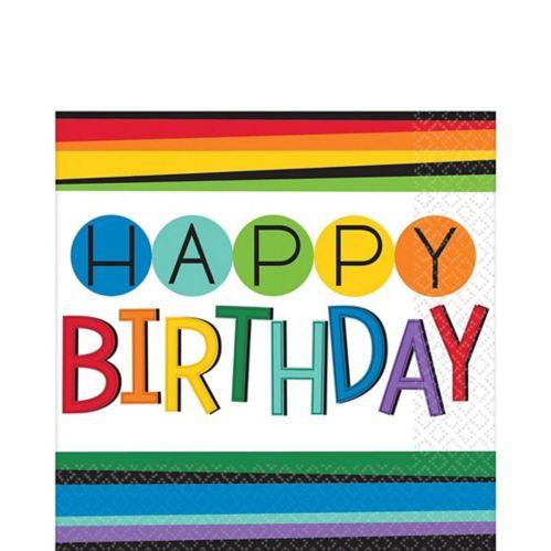 Serviettes de table Happy Birthday avec arc-en-ciel, paq. 16 Image de l'article