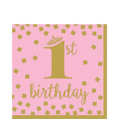 Pink & Gold 1st Birthday Lunch Napkins, 16-pk