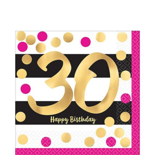 Metallic 30th Birthday Lunch Napkins, 16-pk