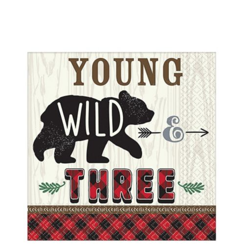 Little Lumberjack 3rd Birthday Lunch Napkins, 16-pk