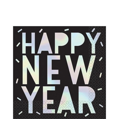 Iridescent Happy New Year Lunch Napkins, 16-pk