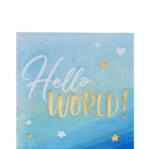 Serviettes de table Hello World, bleu et or métallisé, paq. 16