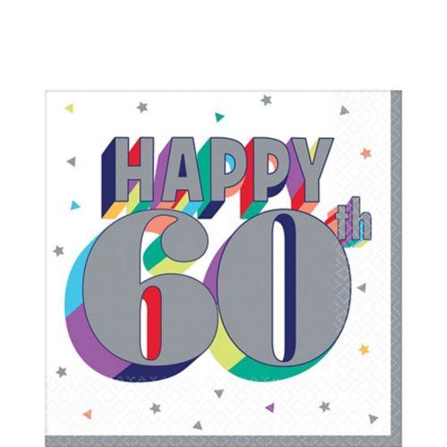 Serviettes de table 60e anniversaire, paq. 16
