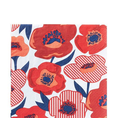 Red Poppy Lunch Napkins, 16-pk