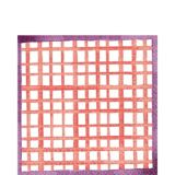 Bright Coral Grid Lunch Napkins, 16-pk