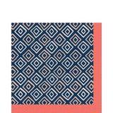 Serviettes de table corail vif, motif de losanges, paq. 16