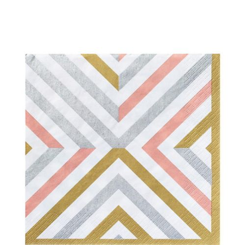Mixed Metallic Geometric Lunch Napkins, 16-pk