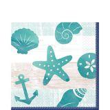 Serviettes de table à motif de mer, de sable et de soleil, paq. 16
