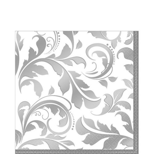 Silver Wedding Lunch Napkins, 16-pk
