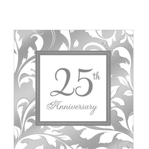 Silver 25th Anniversary Lunch Napkins, 16-pk
