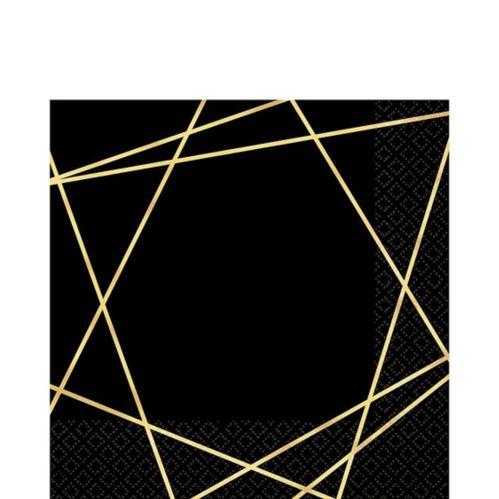 Serviettes de table haut de gamme à ligne métallique dorée et noire, paq. 16
