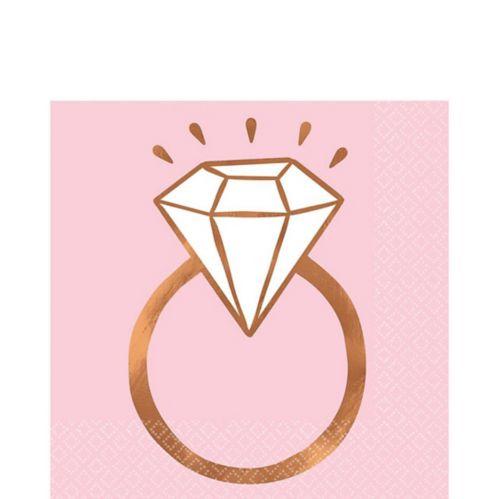 Blush & Rose Gold Diamond Ring Lunch Napkins, 16-pk