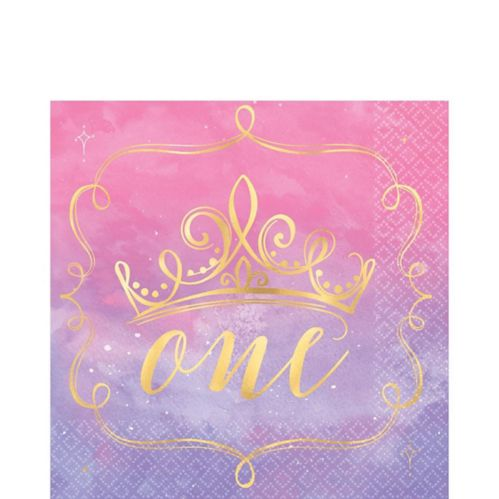 Metallic Disney Once Upon a Time 1st Birthday Lunch Napkins, 16-pk