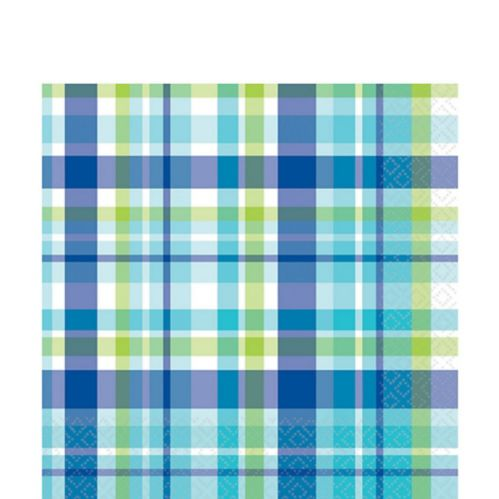 Carbon Plaid Lunch Napkins