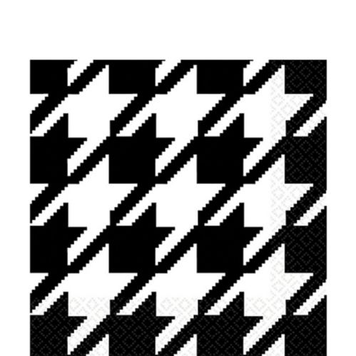 Houndstooth Lunch Napkins, White
