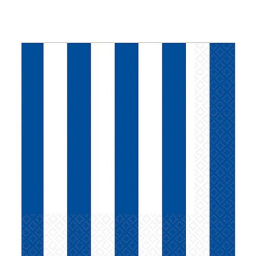 Striped Lunch Napkins, Bright Royal Blue
