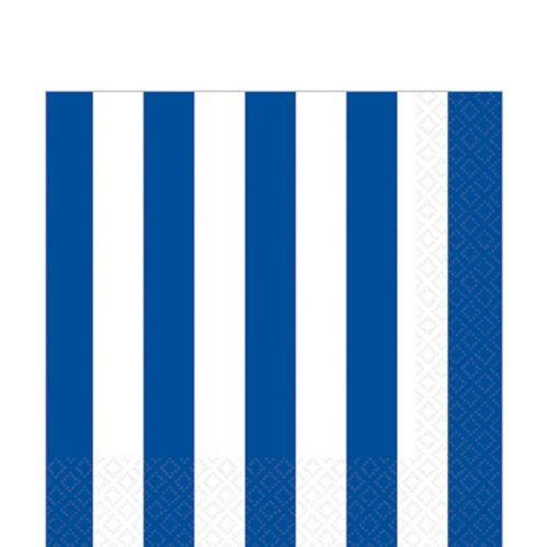 Serviettes de table à rayures, bleu royal éclatant