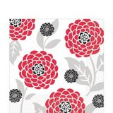 Tossed Mums Lunch Napkins, Red